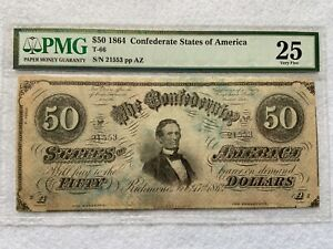 1864 Confederate States of America $50 Fifty Dollar Bill PMG Certified