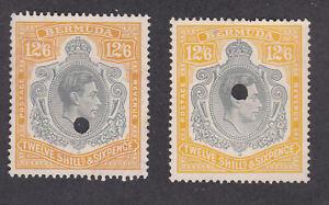 Bermuda 1938 Used Definitive George VI Twelve Shilling 6d Telegraph  SG120a&b