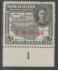 SOMALILAND SG135 1951 5/= on 5r BLACK MTD MINT