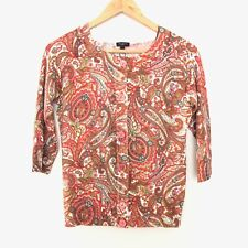 Talbots Womens S Small 3/4 Sleeve Paisley Floral Button Front Cardigan