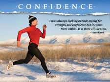 Running CONFIDENCE (Woman Running in Winter) Motivational Inspirational Poster