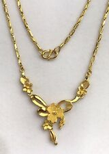 24k Solid Gold Beautiful Flowers Chain/ Necklace 17 Inches. 12.77 Grams