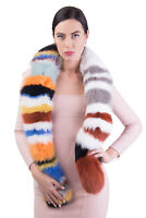 MISSONI Shadow Fox Fur Stole Scarf Striped Colourful Made in Italy RRP €2985