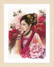 Asian Lady in Pink - Lanarte Counted Cross Stitch Kit w/ 27 Ct. Evenweave New