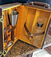 Vintage Portable Bar Brown Case Glass Decanter Bar Tools Mix Cup Velour Lining