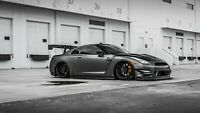 Nissan GTR - Super Sports Car Black And White Art Large Poster & Canvas Pictures