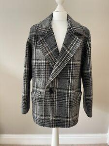Vintage St Michael M&S Black White Dogtooth Check Wool Blend Short Jacket 12