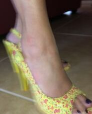 "Yellow & Pink 4.5"" High Heels Betseyville By Betsey Johnson Sz 7 Ankle Strap"