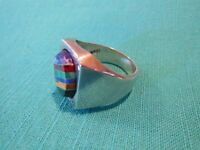 925 STERLING SILVER 21.1 GRAMS TAXCO MEXICO MEN'S RING SIZE 12 MULTI-STONE