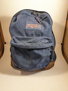 Vintage Jansport Navy Leather Bottom Bookbag Backpack Made in USA - Pen Marks