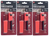 3 Pack 3-IN-1 Survival Fire Starter Kit Flint Striker Compass & Whistle