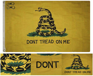 3x5 Embroidered Gadsden Yellow Double Sided 100% Cotton Flag 3'x5' Pin 2 Clips