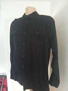 Wrangler Mens XL Stunning Black Longsleeve Shirt Grey Oxford Cuffs