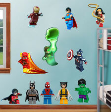 Lego Marvel Super Heroes Decal Removable Wall Sticker Decor Art Batman Hulk DC