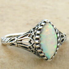 WHITE LAB OPAL FLASHING RED & GREEN 925 STERLING SILVER RING SIZE 8,        #725