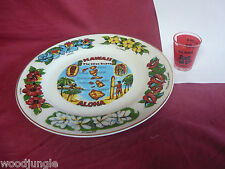 Vintage HAWAII PLATE Aloha TIKI BAR LOUNGE LUAU GOD SUCK UM UP SHOT GLASS EM