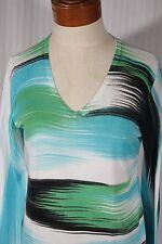 BELFORD Women's Size S Small V-Neck Multi-Color Striped Sweater 100% Pima Cotton