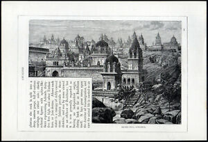 SACRED HILL, SONAGHUR 1891  Jain temples India VICTORIAN ENGRAVING