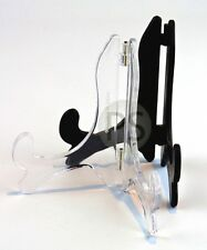 """Classic Display Stand /Easel - Black & Clear :10cm-45cm, 4"""" to 18"""" :Plate, Photo"""