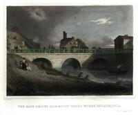 Philadelphia PA Fair mount Waterworks Race Bridge 1846 lovely print hand colored