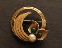 Winard 12k gold filled BROOCH vintage excellent quality jade pearl