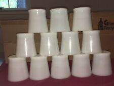 12 Vintage White Milk Glass Oven Ware Fire King D Handle Coffee Mugs / Cups