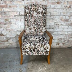 Vintage Fireside Armchair with Flowery Fabric Cushion Wooden arms and Frame