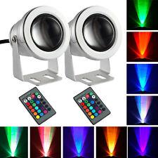 2X 10W RGB LED Flood Light Spotlight Remote Plug Fantasy Outdoor Garden Lamp 12V