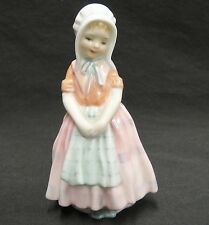 "Royal Doulton Tootles Figurine 4.75"" Young Peasant Girl Apron Bonnet Mint"