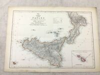 Antique Map Naples Italy Sicily Malta Old Hand Coloured 19th Century