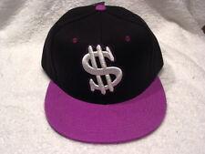 DOLLAR SIGN MONEY SNAPBACK  FLAT BILL BASEBALL CAP HAT ( BLACK & LAVENDER )