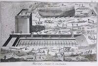 Chantier Marine en 1778 Navigation Vaisseau Rare Gravure ancienne maritime