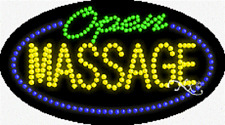"New ""Open Massage"" 27x15 Oval Solid/Animated Led Sign w/Custom Options 24113"