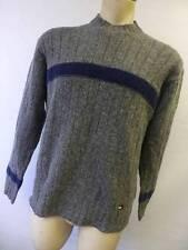 mens gray TOMMY HILFIGER knit WOOL blend crewneck SWEATER shirt sz LARGE Clean