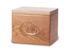 Wood Cremation Urn. Standard model with a Natural Finish and a Rose Image