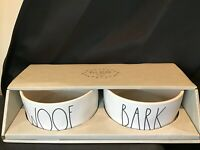 Rae Dunn - Artisan Magenta Collection - White Pet Bowl Set - Bark - Woof - NEW