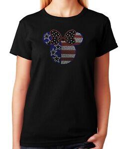 "Women's / Unisex Rhinestone T-shirt "" Minnie Head 4th of July """