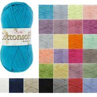 King Cole Cottonsoft DK Knitting Yarn 100% Cotton Crochet 100g