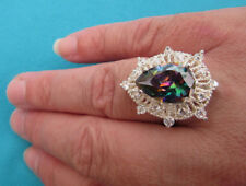 925 Sterling Silver Ring With Rainbow & White Topaz UK P 1/2 US 8 (rg2004)