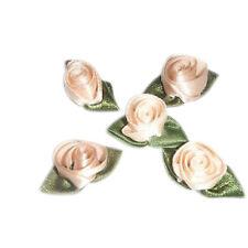 24 Peach satin barrel tulip rose applique flower