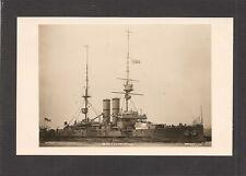 REAL-PHOTO POSTCARD:  BRITISH ROYAL NAVY WORLD WAR 1 BATTLESHIP - HMS DOMINION