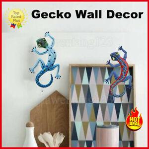 2Pcs Metal Gecko Outdoor Garden Glass Lizard Wall Hanging Home Art Decoration