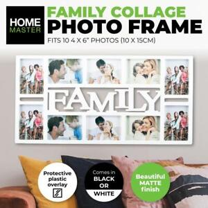 "Family Collage Photo Frame 4 x 6"" Photo White/Black Stylish Memories Wall Decor"