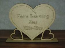 Personalised wooden home learning reward heart, craft shape Embellishment