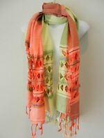 Light Green Coral Warm Big Pashmina Scarf Shawl Wrap Hijab Cashmere Cotton Blend