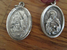 2 Vintage Religious Metals Italy Catholic - S Caterina da Siena & Guardian Angel