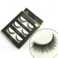 3 Pairs 3D Natural False Eyelashes Fake Lashes Makeup Faux Mink Extension Black