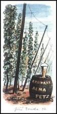 Bouda Jiri 1992 Exlibris L1 Bookplate Hops Beer Hopfen Bier Piwo Alma Petz s28