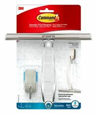3M Command Stainless Steel Bathroom Shower Squeegee With Water Resistant Hook