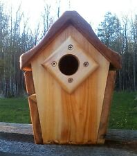 Cute decorative, handmade square Bluebird house, cedar wood, The Birds Nest